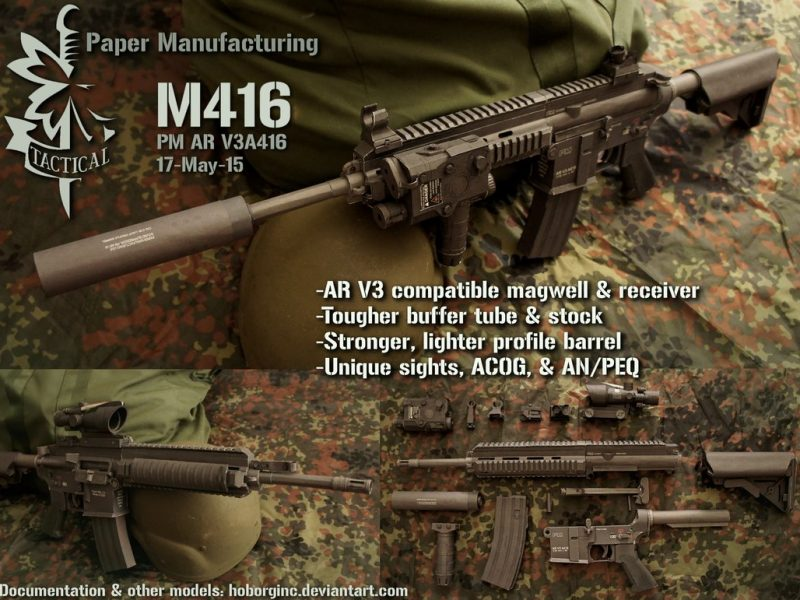 Heckler & Koch HK416 (M416) Assault Rifle Free Paper Model Download